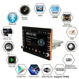 New 1Din 9'' Android 9.1 Car Stereo Radio GPS MP5 Player Bluetooth Touch Screen