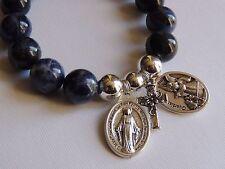 SODALITE GEMSTONE BRACELET-MIRACULOUS MARY SAINT MEDAL-GUARDIAN ANGEL-12MM BLUE