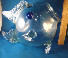 """Art Glass Fish Figurine Large Clear Glass 11"""" Open Mouth Mint Condition @23"""