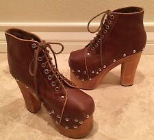 JEFFERY CAMPBELL Brown Leather Wood Platform Heels Stud Lace-Up Ankle Boots 6.5M