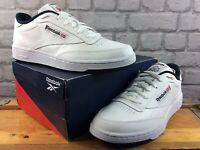 REEBOK MENS UK 11 EU 45.5 CLUB C 85 TRAINERS WHITE NAVY RRP £70 M