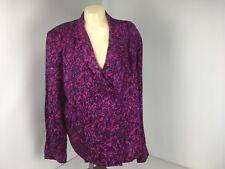 Flora Kung II woman's One Button Silk Shirt  Career Blouse Long sleeve  Sz 14