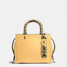 New COACH 1941 Rogue 25 Crossbody in Glovetanned Pebble Leather Snake Yellow
