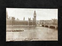 Vintage Real Photo Postcard: Houses Of Parliament & Westminster Bridge #TP1795