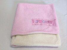 Baby Gear I Love Mommy Pink White Sherpa Blanket Stripe Heart