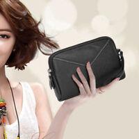 Women Wallet Purse Bag  PU Leather Mini Phone Bag Card Coin Clutch Bag(Black)