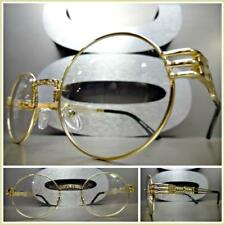 Mens or Women CLASSIC VINTAGE RETRO Style Clear Lens EYE GLASSES Oval Gold Frame