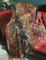 Victorian Trading Co Jasmine Dream Wool & Viscose Floral Tapestry Throw