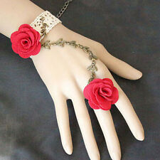 Vintage Style Bridal White Red Roses Lace Bracelet Ring Wrist Decoration BB148