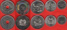 Papua New Guinea set of 5 coins: 5 toea - 1 kina 2009-2015 UNC