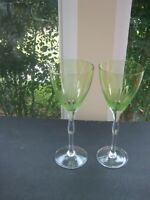"Pair (2) 8 oz Light Green 9 1/4"" tall Glass Wine Goblets  Crystal Stem"