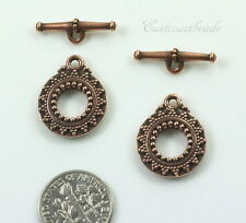 Bali Toggle Clasp Sets, TierraCast Closures, Antiqued Copper, 2 Sets, 6118