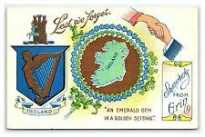 Vintage Postcard Greetings from Ireland Emerald Gem in Golden Setting V1