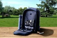 Insulated Picnic Basket Set Lunch Tote Backpack Cooler - Picnic Set for 2