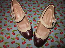 Womens Mid Heel two Tone Mary Jane Pumps dark red and white