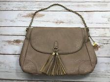 Big Buddha Vegan Faux Leather Tassel Fringe Shoulder Bag Purse Taupe Gold Chain
