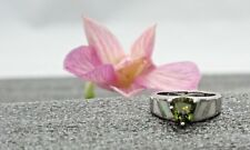 Ring for Women Silver Plated Peridot White Opal Size 6