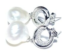 Unique Huge 14.2mm Natural White Australian South Sea Baroque Pearl Earrings
