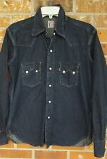 Levi's Vintage Denim Jean Sawtooth Big E Pearl Snap Button Western Shirt Small