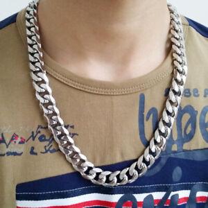 Men's Chain Necklace + Bracelet Luxury HEAVY SET 18K White Gold Filled Silver c.