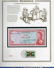 East Caribbean Banknote 1965 1 Dollar P13g AUNC Dominica w/UN FDI FLAG STAMP B87