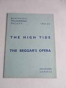 1953 1954 HIGH TIDE THE BEGGARS OPERA BLACKPOOL PHILHARMONIC SOCIETY PROGRAMME