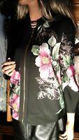 JOSEPH RIBCOFF NEW NWT FAB ART TO WEAR BLACK PINK FLORAL FULL ZIP JACKET  SZ 8 M