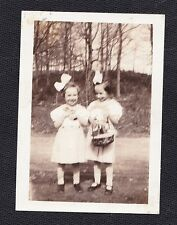 Old Vintage Antique Photograph Two Adorable Little Girls With Huge Bows in Hair
