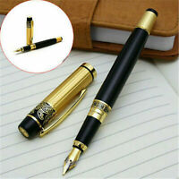 NEW HERO 901 Medium Nib Fountain Pen Luxury Black & Gold Stainless Pen Gifts S8