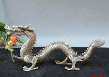 """12"""" Old Chinese Art Fengshui Collect Tibet Silver Cupronickel Dragon Statue"""