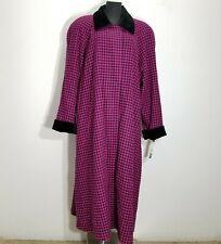 Vintage Gallery Womens Coat Jacket 20 Trench Pink Black Houndstooth Velvet Wool
