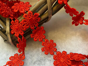 """25mm/1"""" Bright Red Guipure Daisy Chain Lace Trimming. Sewing/Crafts"""