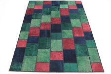 Patchwork Orient Tapis Vintage 250x170 rouge vert mauve noué à la main 167138