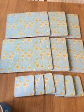 Denby Cork Back Placemats And Coasters Teal Blue Floral Set 6