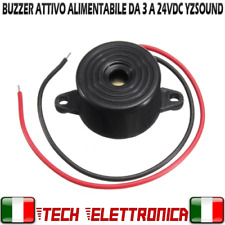 Cicalino Buzzer Attivo 23mm 3V 5V 12V 24V buzzer con fili alimentabile 3V-24Vdc