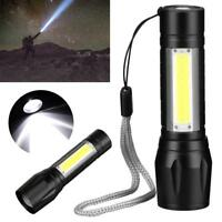 Waterproof Pocket LED XPE COB Flashlight Zoomable Mini Torch USB Work Light Lamp