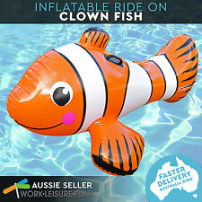 Airtime Inflatable Ride On Clown Fish Nemo Orange Pool Water Toy 154x97x74cm