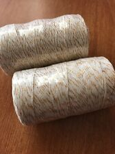 Bakers Twine Gold  & White Twine 2mm 5 MTR Bundle Wedding Favours  DIY Craft