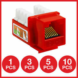Cat6 Keystone Jack Punchdown Network Ethernet Wall Plate RJ45 Female Red Lot