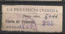 8375-SELLO ESPAÑA CUOTA LA PREVISION OBRERA EN CATALAN Y CASTELLANo 1947