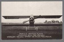 Old Postcard Pomilio Battle Plane World Record Speed 155 Miles Per Hour