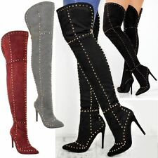 Womens Ladies Studded Over The Knee Thigh Boots High Heel Stiletto Spikes Size