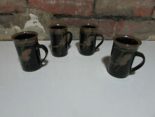 VIC GREENAWAY POTTERY SET 4 COFFEE CUPS DEMI TASSE AUSTRALIAN CERAMIC ARTIST