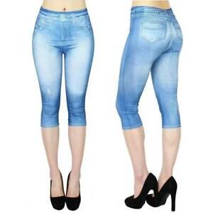 US Women Denim Jeggings Summer Stretch Leggings Cropped Skinny Slim Pencil Pants
