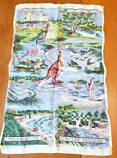 Vintage Mid-Century 1960's Destination Australia Souvenir 100% Linen Tea Towel