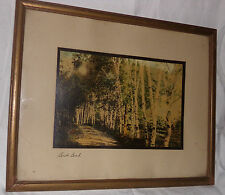 Antique Wallace Nutting Tinted Photo Picture Print BIRCH BEND Framed Landscape