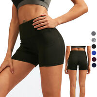 Womens Home Fitness Shorts High Waist Compression Yoga Shorts with Phone Pocket