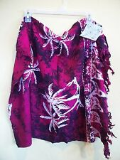 NWT- Batik Tie Dye Sarong, Pareo,Cover-up, Magenta - PALM TREE *US SELLER