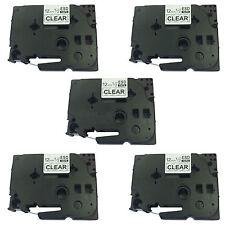 5 x TZ-131 compatible Brother P-Touch 12mm noir / label clair cartouche de bande