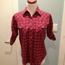 Awesome Urban Outfitters Purple/red Pearl Snap Button Down W/ Gathered Slvs S/M